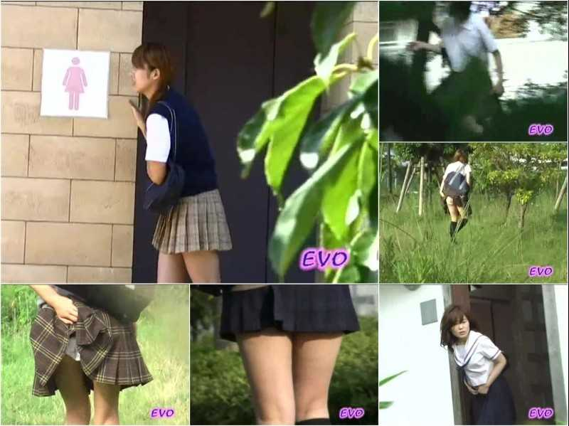 E42-01 | Girls school students disgraceful wetting and pantypooping in front of public lavatory.