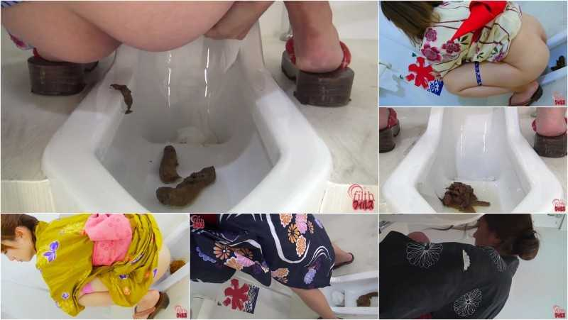 "FF-148 Japanese girls wearing yukata and pooping on toilet. ""Cameltoe"" view."